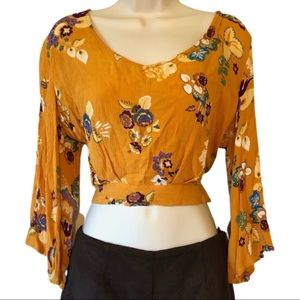 3/$25 Patrons of Peace Mustard Floral Crop Top L